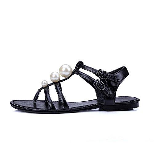 Amoonyfashion Kvinnor Låga Klackar Fast Spänne Mjukt Material Split Sandaletter Svarta