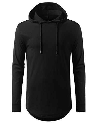Yingkis Men's Hipster Hip Hop Asymmetric T-Shirt Long Hooded Sweatshirts B S (Long Hooded Hoodie compare prices)