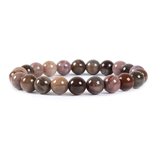 Bead Bracelet Half - Natural Petrified Wood Fossil Gemstone 8mm Round Beads Stretch Bracelet 7