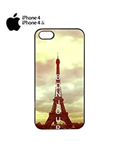 Bonjour Paris Eiffel Tower Mobile Cell Phone Case Cover iPhone 4&4s White by icecream design