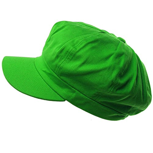 Summer 100% Cotton Plain Blank 6 Panel Newsboy Gatsby Apple Cabbie Cap Hat Lime (Lime Apple)