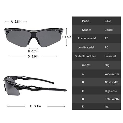 sports lunettes de unisexe la 9302 Noir pêche de Cadre vélo à protection Sport des soleil UV400 pour Jiele lunettes RYv7q