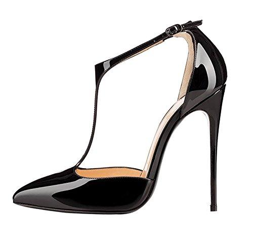fd051716e4 Sammitop Women's Pointed Toe High Heel Pumps T-Strap Dress Shoes 12cm  Stilettos Heels