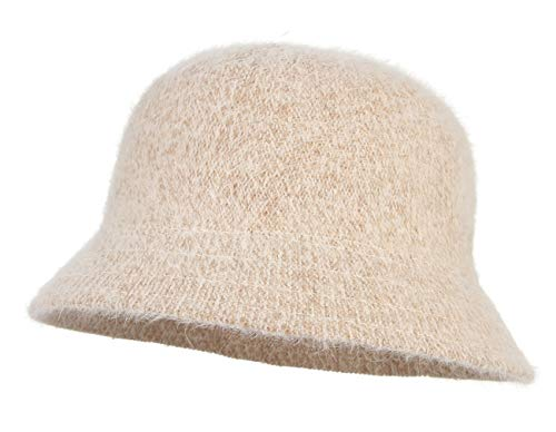 La Vogue Women Solid Angora Crochet Bucket Hat Vintage Wide Brim Cloche Hat