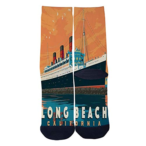 Mens Womens Casual American Travel Poster Long Beach CA Queen Mary Socks Crazy Custom Socks Creative Personality Crew Socks Black]()