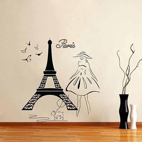 Amazoncom Wall Stickers Vinyl Decal Eiffel Tower Girl With Dog - Wall decals eiffel tower