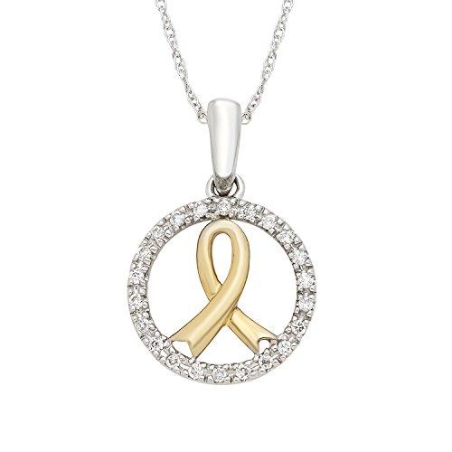 14K White & Yellow Gold .10 Cttw. Diamond Accent Yellow Awareness Ribbon Pendant with 18