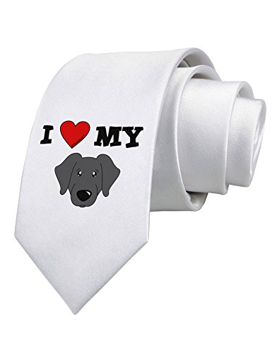 TooLoud I Heart My - Cute Black Labrador Retriever Dog Printed White Neck Tie (Tie Black Labrador)