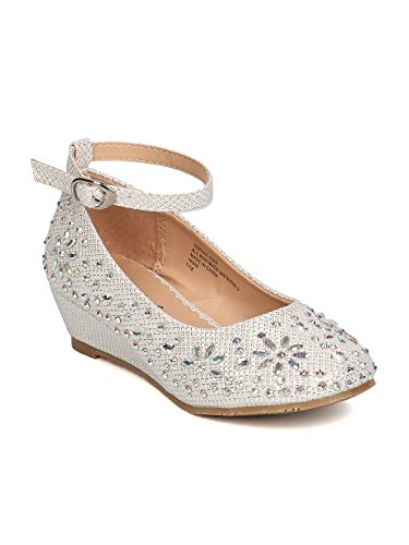 Little Angel Girls Glitter Rhinestone Wedge - GC47 by Off White (Size: Toddler 9) -
