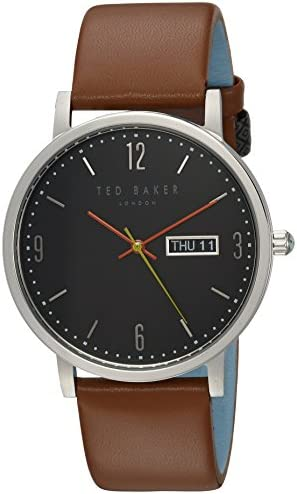 Ted Baker Men s Grant Quartz Stainless Steel and Leather Casual Watch