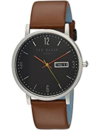 Men's 'GRANT' Quartz Stainless Steel and Leather Casual Watch, Color Brown (Model: TE15196010)