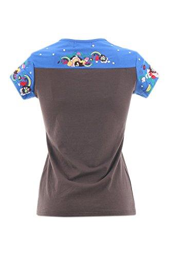 shirt gris T Manches Femme Broderies Courtes Bleu 125715 Fonce Zelia RPTwqgB