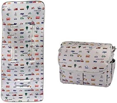My Bag's Bolso Carro Bebe Bandolera + Colchoneta Bebe + Cambiador Diseño Blanco Estampado Dibujos Transporte
