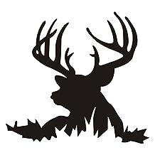 "DCTOP(TM) Deer Head Silhouette Buck Hunting Wall Art Decals Home Decor Living Room Decoration Wallpaper Stickers Black 22.4""x22.4"""