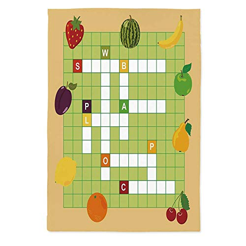 - Word Search Puzzle Waterproof Tablecloth,Vivid Graphic Summer Fruits with Educational Crossword Game for Kids Decorative for Dining Table Tea Table Desk Secretaire,72''W X 90.2''L