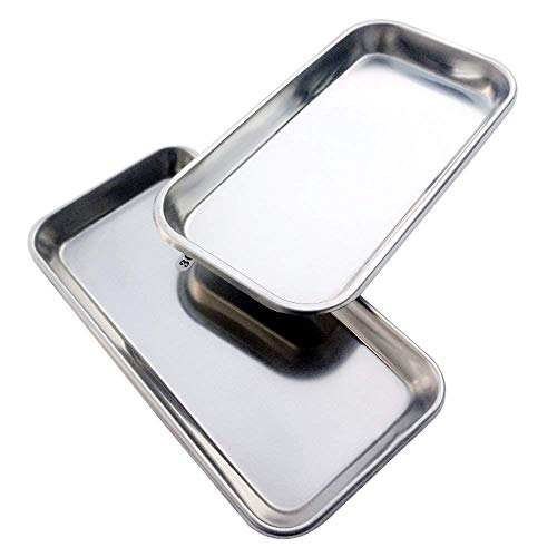 Genmine Dental Medical Trays Stainless Steel Surgical Trays Lab Instrument Length 8.46in X Width 4.13in 2 PCS (Silver)