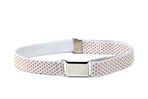Buyless Fashion Kids And Baby Adjustable And Elastic Dress Stretch Belt With Silver Buckle - White Orange Polka Dots