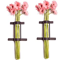 Set of 2 Wall Mount Cylinder Vases with Metal Holders
