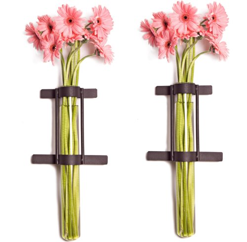 Danya B. QB201-2 Indoor/Outdoor Rustic Wall Mount Cylinder Flower Vases with Metal Holders (Set of 2) Review