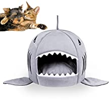 Shark Bed for Small Cat Dog Cave Bed Removable Cushion,waterproof Bottom Most Lovely Pet House Gift for Pet (S, Gray)