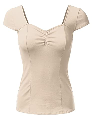 DRESSIS Sweetheart Cap Sleeve Top BEIGE L - Womens Fitted Cap Sleeve Tee