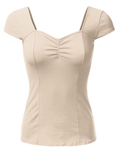 DRESSIS Sweetheart Cap Sleeve Top BEIGE (Womens Cap Sleeve Top)