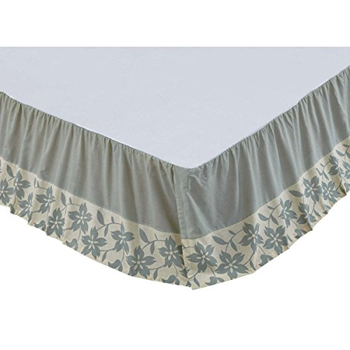 - VHC Brands Farmhouse Briar Tan Bed Skirt, Twin, Sage