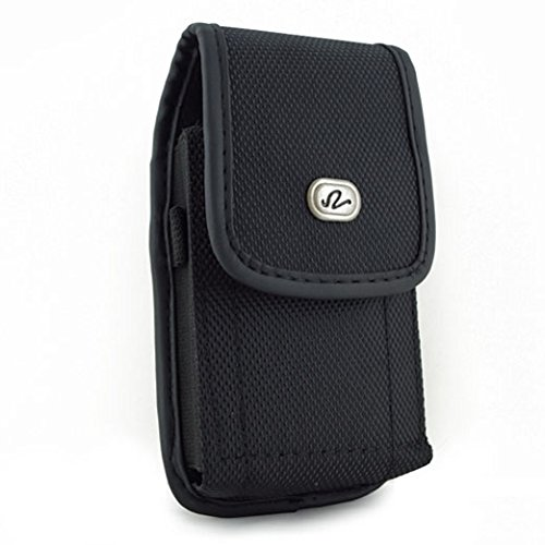 Black Vertical Rugged Canvas Case Cover Pouch Holster Belt C