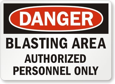 """SmartSign Aluminum OSHA Safety Sign, Legend """"Danger: Blasting Area Authorized Personnel Only"""", 10"""" high x 14"""" wide, Black/Red on White"""