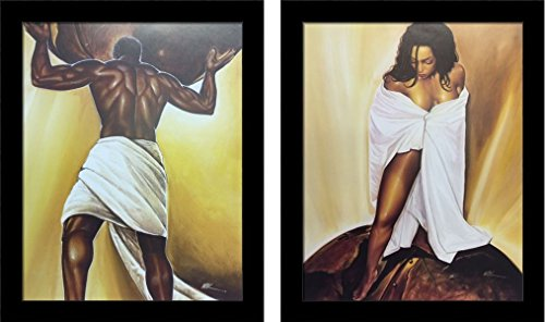 (US Art 8x10 inches Framed Set Of Power Of Man & Power Of Woman WAK - African American Black Art Print Wall Decor Poster)