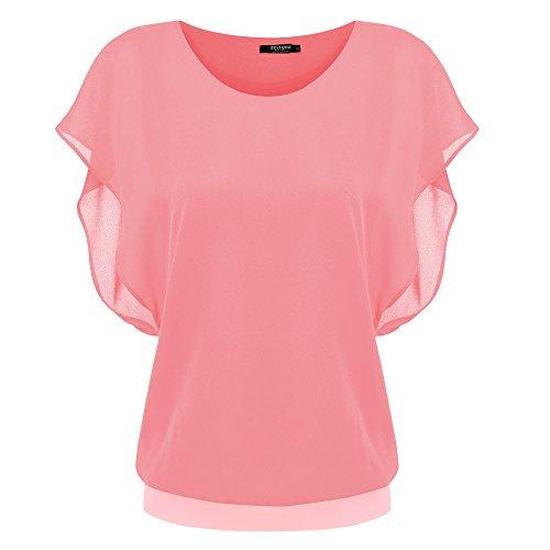 (Zeagoo Women's Loose Casual Short Sleeve Chiffon Top T-shirt Blouse,Orange)