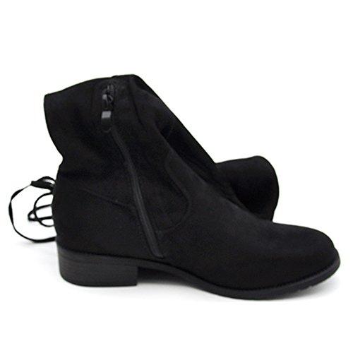 N.36-40 stivali da donna scamosciati alti sopra ginocchio G321 nero