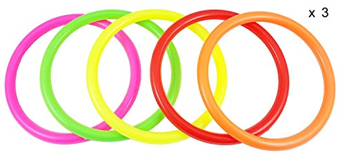 Fushing 15Pcs Multicolor Plastic Toss Rings for Kids Ring Toss Game, Speed And Agility Training Games,Carnival Garden Backyard Outdoor Games,Bridal Shower Game,Game Booth (10.83'') by Fushing