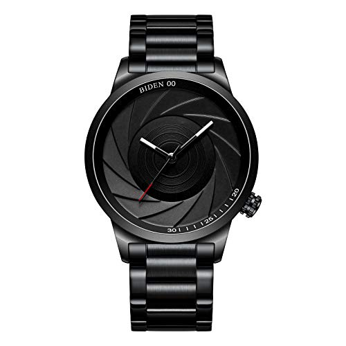 - Watches Men's Watches Black Simple Fashion Business Stainless Steel Waterproof Quartz Analog Wrist Watch for Men