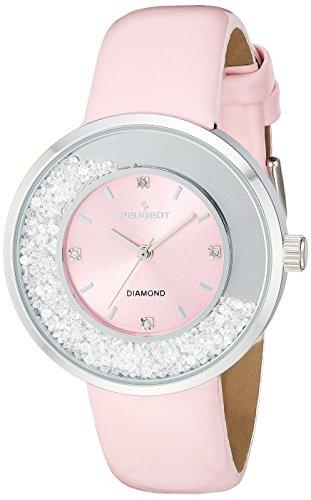 Peugeot Women's Diamond Analog-Quartz Watch with Leather Calfskin Strap, Pink, 18 (Model: - Pink Diamonds Watch Floating