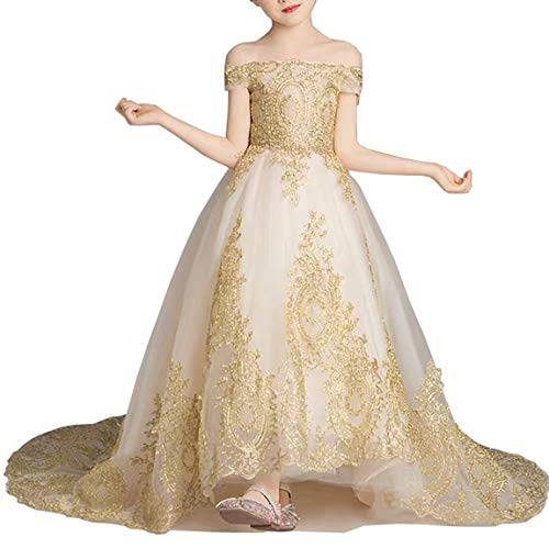 gsunmmw Gold Lace Flower Girl Dresses for Wedding Beaded Pageant Ball Gown First Communion Dress for Girls GS098 ()