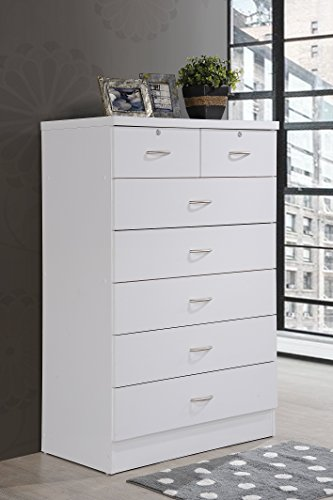 Bedroom HODEDAH IMPORT Hodedah 7 Chest with Locks on 2-Top Drawers in White Dresser, Assembled dimensions: 48 in. H x 31.5 in. W…