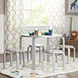 Guidecraft Nordic Table and Chairs - Gray : Toddlers Activity Table & Chair, Little Kids Preschool Wooden Furniture