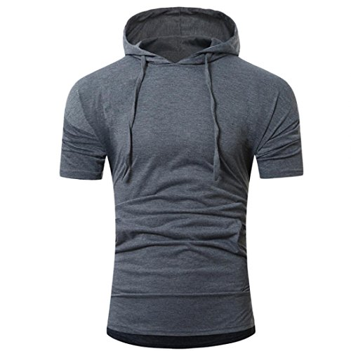 Basketball Hooded (BSGSH Short Sleeve Hoodie for Men Hipster Hip Hop Solid Pullover Shirt with Kanga Pocket (M, Dark Gray))