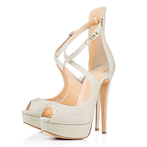 Damen Peep Toe Pumps Sandalen High-Heels Stiletto Criss Cross mit Plateau Weiß