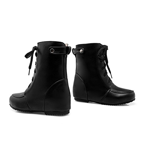 Material Lace Low Black Soft Closed Heels Boots up Women's Solid Toe Round AgooLar qw8ACA