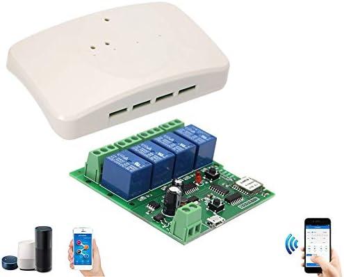 Interruptor WiFi Smart Switch M/ódulo Rel/é 4 Canales Comando de Voz con Alexa Google Modalidad Momentary Self-Locking para Garaje Luz APP eWeLink DC 5V-32V