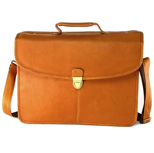 Flap Over Structured Briefcase - Hammer Anvil Belen Genuine Leather Flapover Dress Briefcase 1 Year Warranty TAN