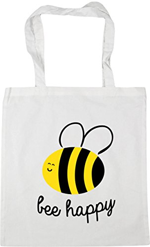 HippoWarehouse Bee Happy Tote Shopping Gym Beach Bag 42cm x38cm, 10 litres White
