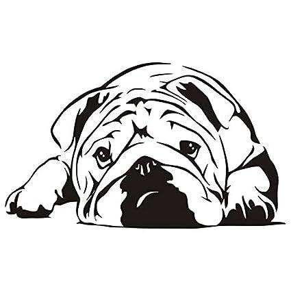 Animal lindo estilo etiqueta de la pared bulldog inglés extraíble decoración del hogar sala de estar