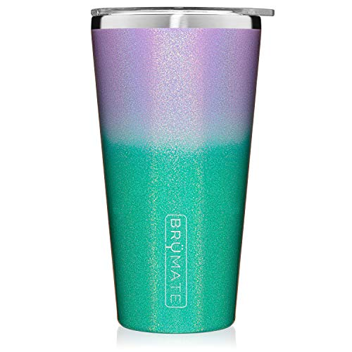 Brümate Imperial Pint 20oz Shatterproof Double Wall Vacuum Insulated Stainless Steel Travel & Camping Mug for Beer, Cocktails, Coffee & Tea with Splash-Proof Lid for Men & Women (Glitter Mermaid)
