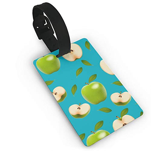 PhyShen Green Apples PVC Luggage Tags with LeatherWristband Suitcase Labels Travel Bag Accessories Delicate Printing