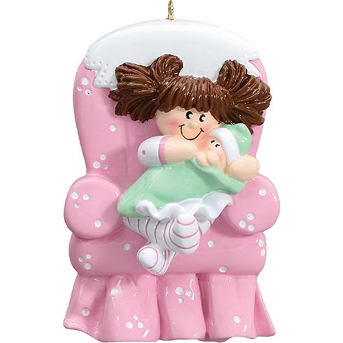 Personalized Ornament Christmas Tree (Personalized Big Sister Chair Christmas Ornament for Tree 2018 - Brunette Toddler Carrying Little Sibling - First New Small Brother Family Care Memory Best 1st Pink - Free Customization (Brown Hair))