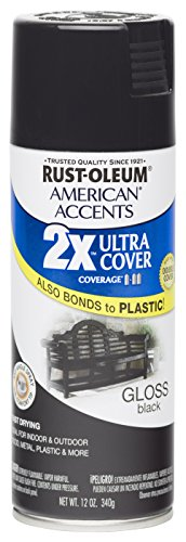 Rust Oleum 280723 American Accents Ultra Cover 2X Spray Paint,  Gloss Black, 12-Ounce