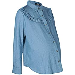 Maternity Millie Ruffle Detail Denim Shirt